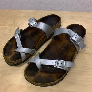 Birkenstock ladies sandals size 9 in silver